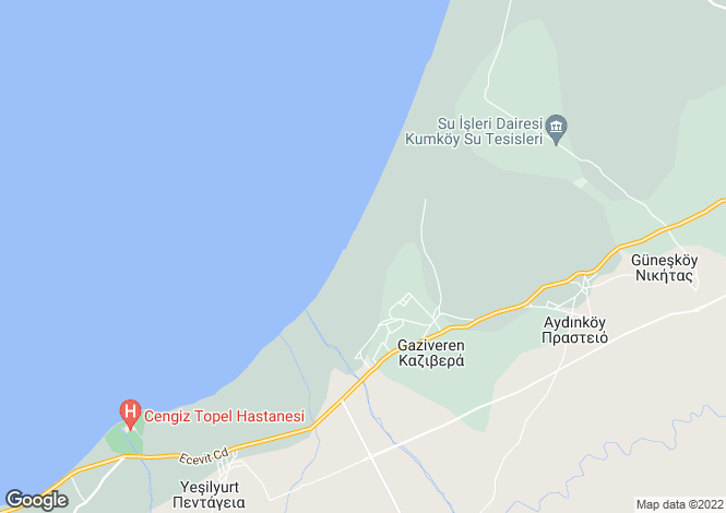 Map for Gaziveran, Girne