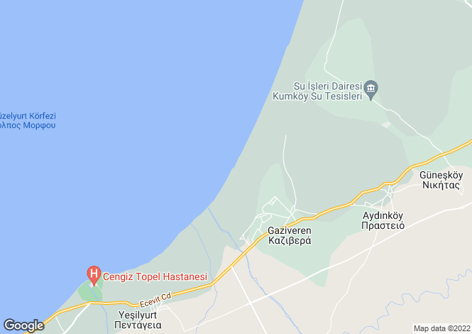 Map for Kyrenia/Girne, Gaziveren