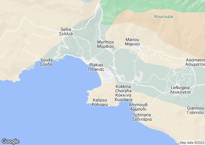 Map for Plakias, South Crete, Greece