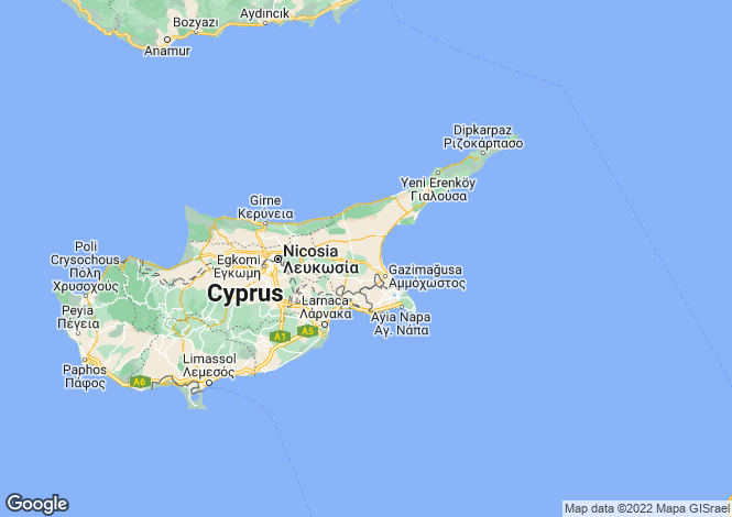 Map for Yeni Bogazici, Famagusta