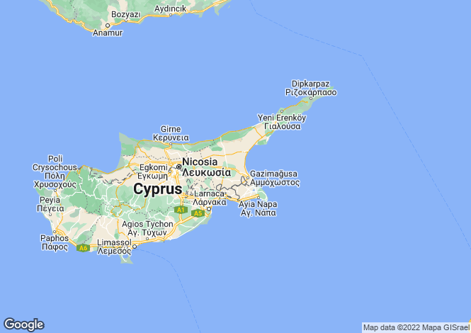 Map for Cyprus - Deryneia, Famagusta