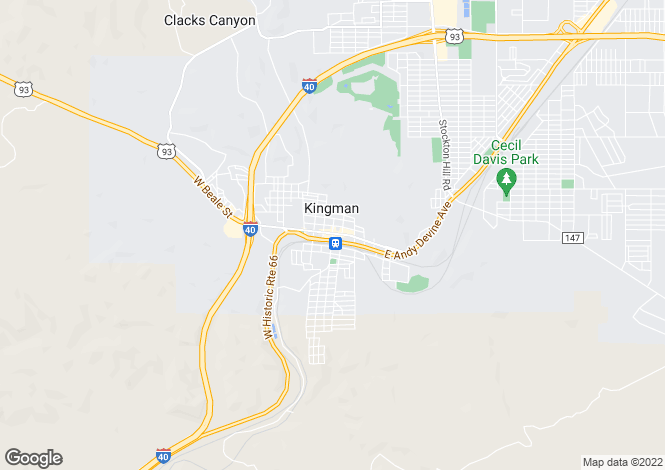 Map for Arizona, Mohave County, Kingman