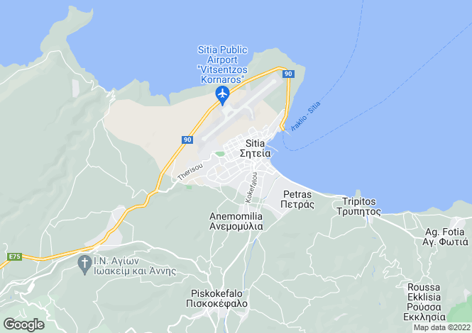 Map for Siteia, Lasithi, Crete