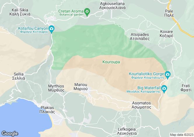Map for Crete, Rethymnon, Plakias
