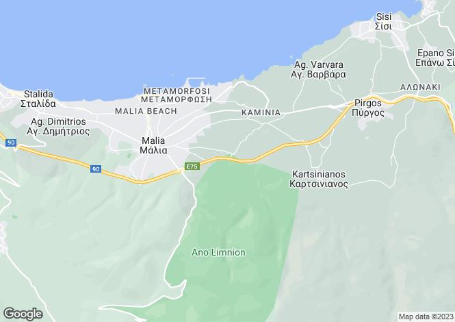 Map for Malia, Iraklion, Crete