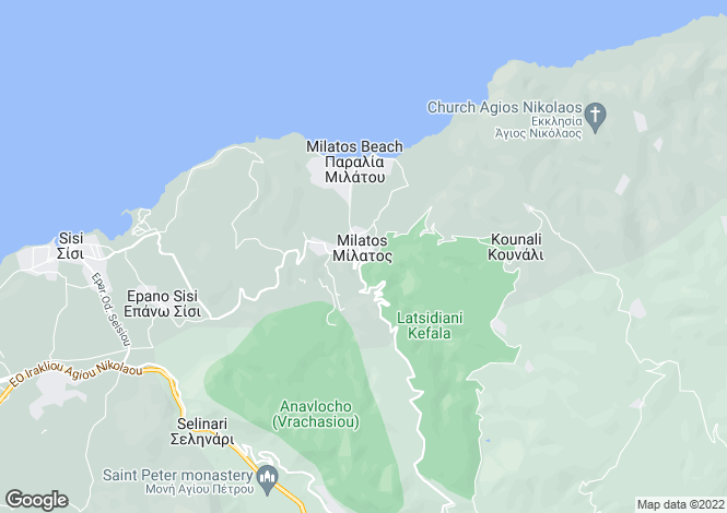 Map for Milatos, Lasithi, Crete