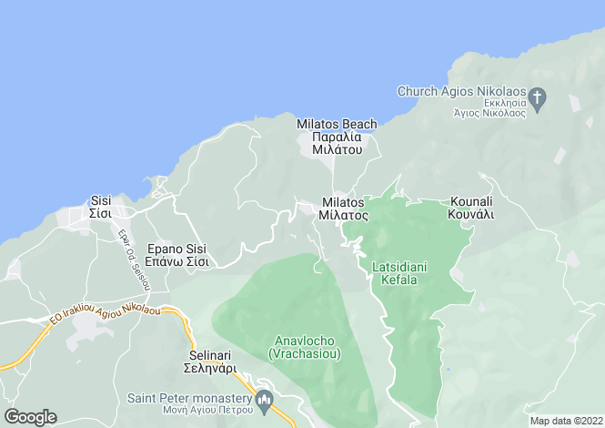 Map for Crete, Lasithi, Milatos