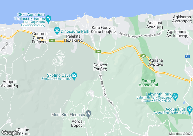 Map for Gouves, Iraklion, Crete