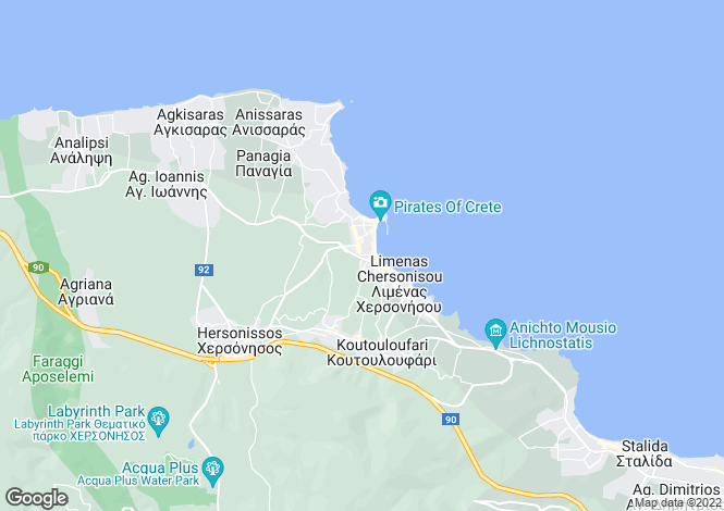 Map for Crete, Heraklion, Limin Chersonisou
