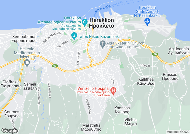 Map for Crete, Heraklion, Iraklion