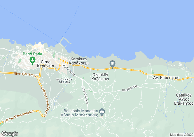 Map for Kyrenia/Girne, Ozankoy
