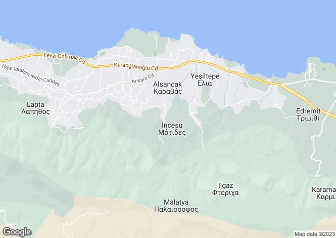 Map for Girne, Incesu