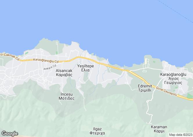Map for Karaoglanoglu, Girne
