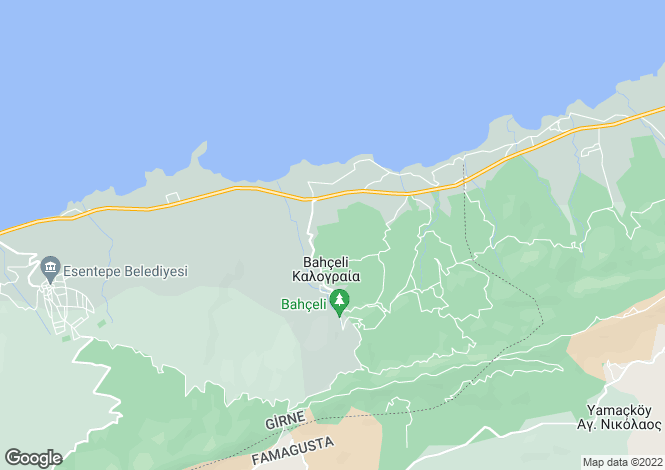 Map for Kyrenia/Girne, Bahçeli