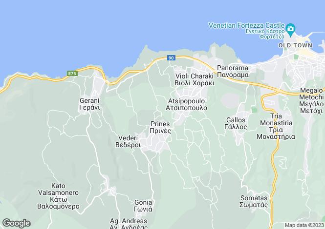 Map for Prines, Rethymnon, Crete