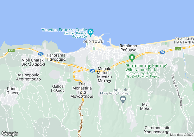 Map for Rethymnon, Rethymnon, Crete
