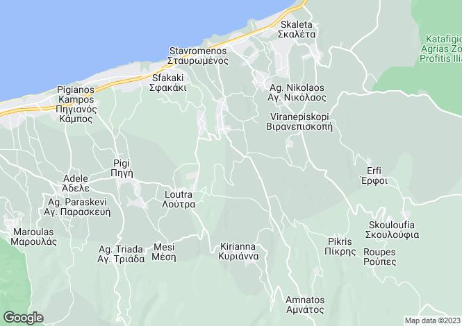 Map for Rethymnon, Rethymnon, Crete