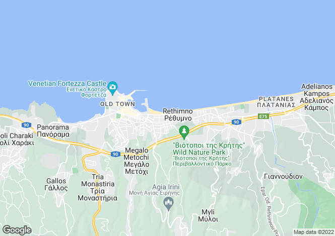 Map for Crete, Rethymnon, Rethymnon