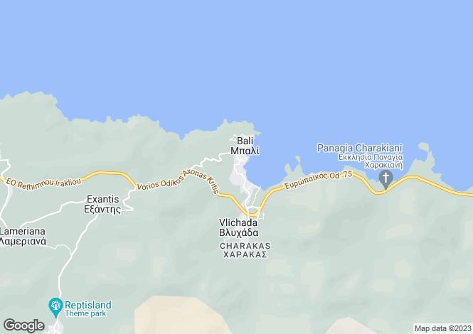 Map for Bali, Rethymnon, Crete