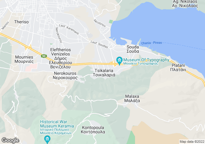 Map for Crete, Chania, Nerokouros