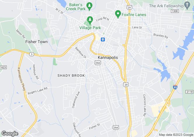 Map for North Carolina, Cabarrus County, Kannapolis