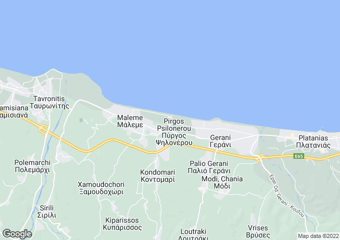 Map for Crete, Chania, Maleme