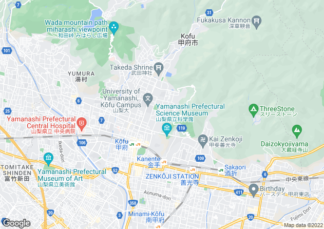 Map for Yamanashi