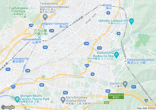 Map for Yamanashi