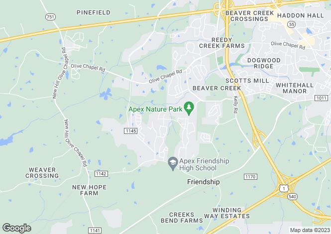 Map for USA - North Carolina, Wake County, Apex