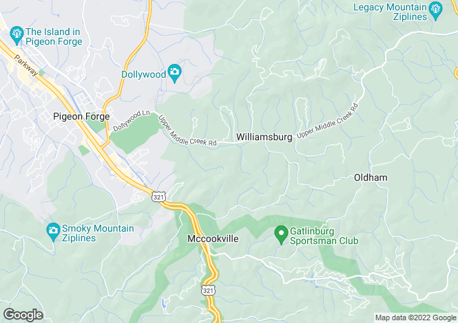 Map for Gatlinburg, Sevier County, Tennessee