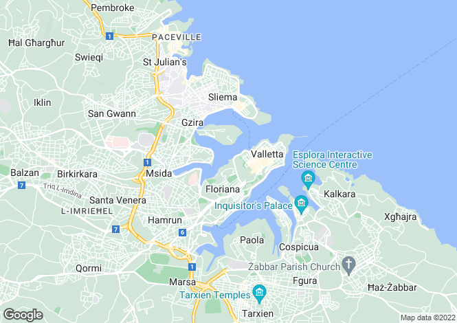 Map for Valletta