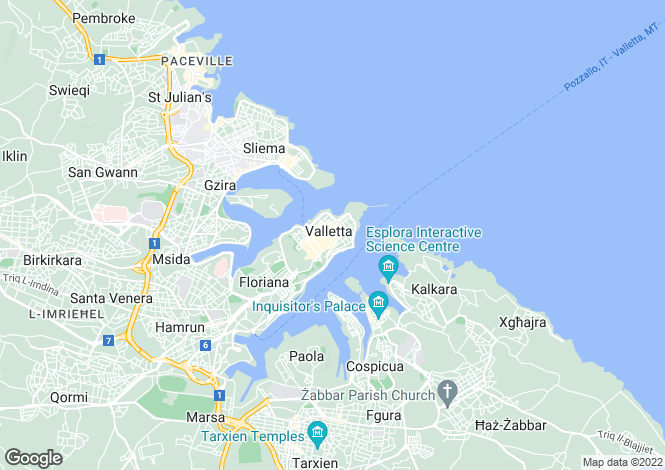 Map for Valletta