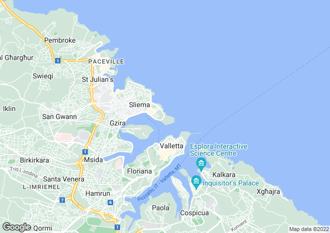 Map for Triplex Penthouse, Tigne Point, Malta