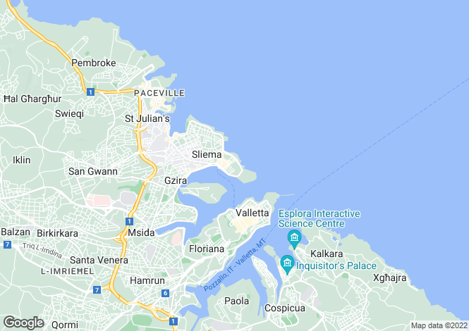 Map for Fort Cambridge Sliema, Malta