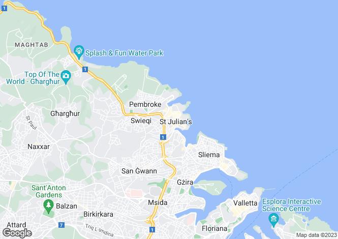 Map for Pender Gardens St Julians, Malta