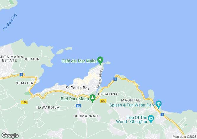Map for Malta - Qawra
