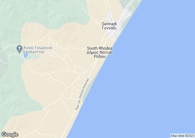 Map for Dodecanese islands, Rhodes, Gennadio