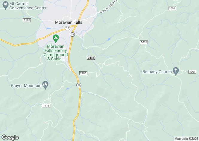 Map for USA - North Carolina, Wilkes County, Moravian Falls