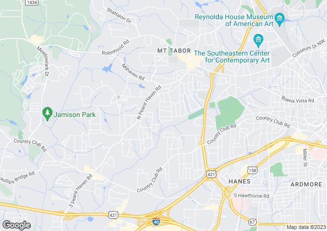 Map for North Carolina, Forsyth County, Winston-Salem