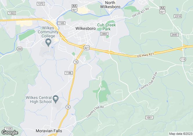 Map for USA - North Carolina, Wilkes County, Wilkesboro