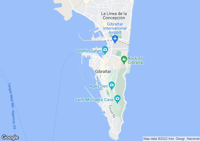Map for Town Area, Gibraltar