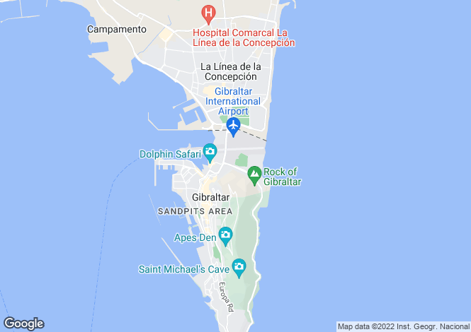 Map for East Side, Gibraltar