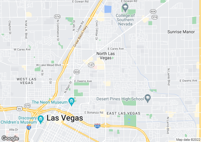 Map for Nevada, Clark County, North Las Vegas
