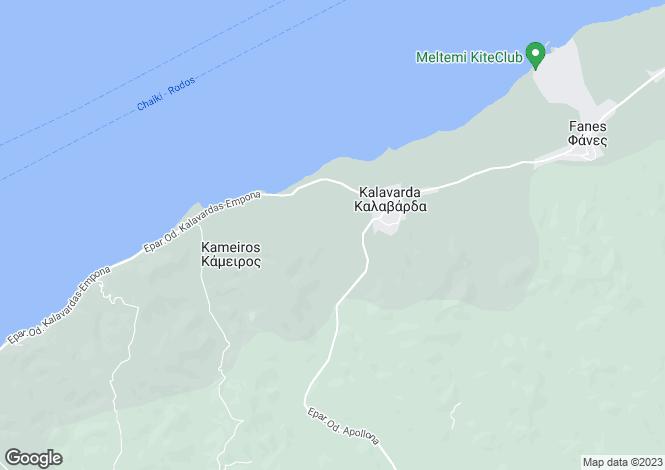 Map for Dodecanese islands, Rhodes, Kalavarda