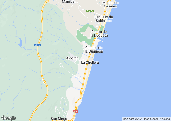 Map for Andalusia, Malaga, La Duquesa