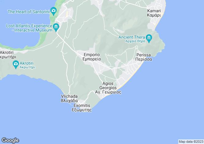 Map for Cyclades islands, Tinos, Emporeio