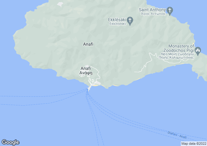 Map for Cyclades islands, Anafi