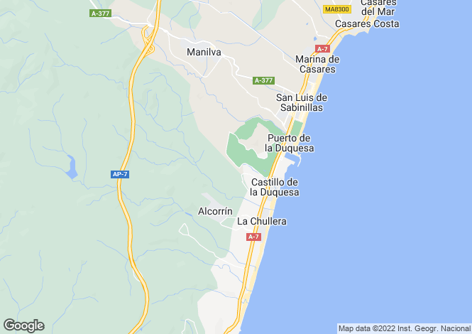 Map for Andalusia, Malaga, La Duquesa