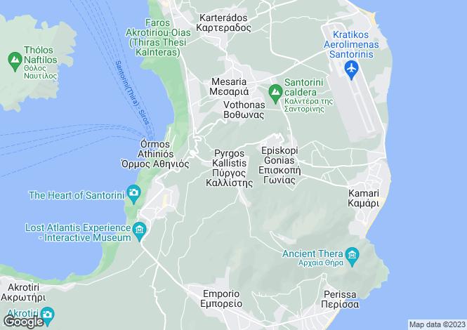Map for Cyclades islands, Santorini, Pyrgos