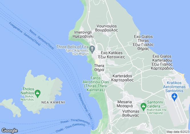 Map for Santorini, Cyclades Islands, Greece